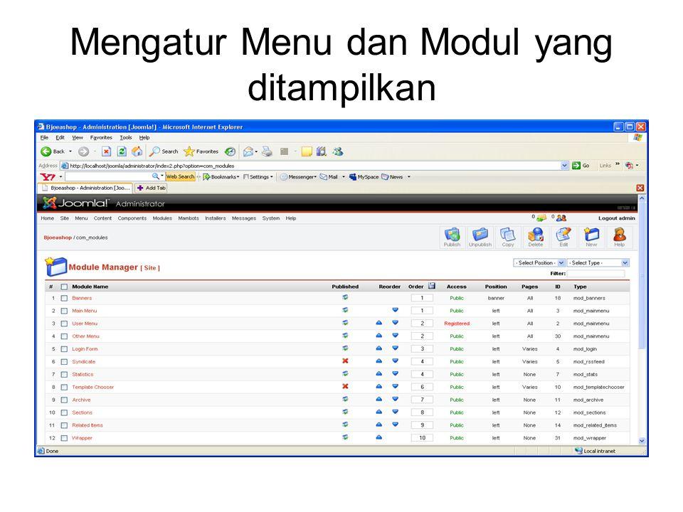 Mengatur Menu dan Modul yang ditampilkan