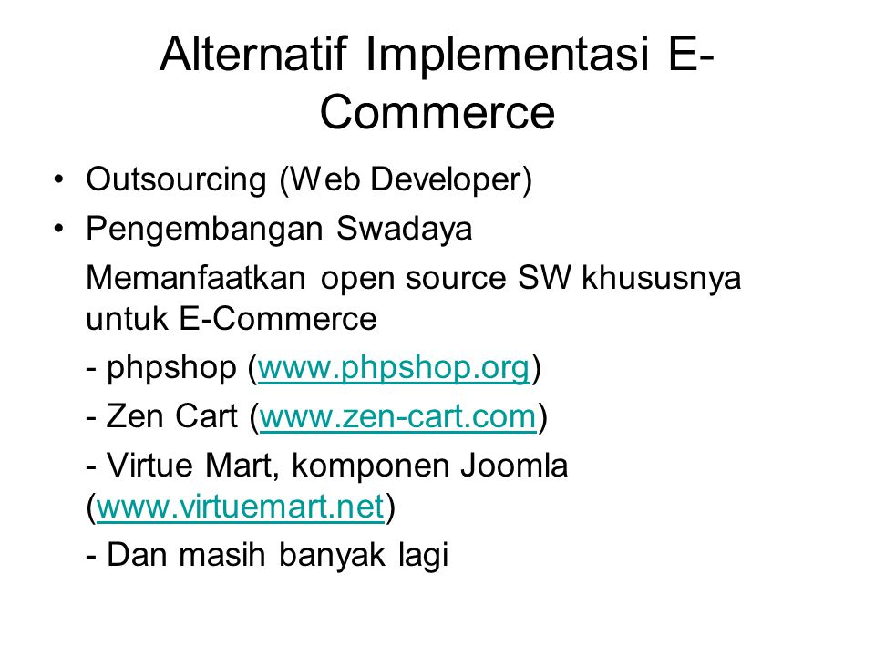 Alternatif Implementasi E-Commerce
