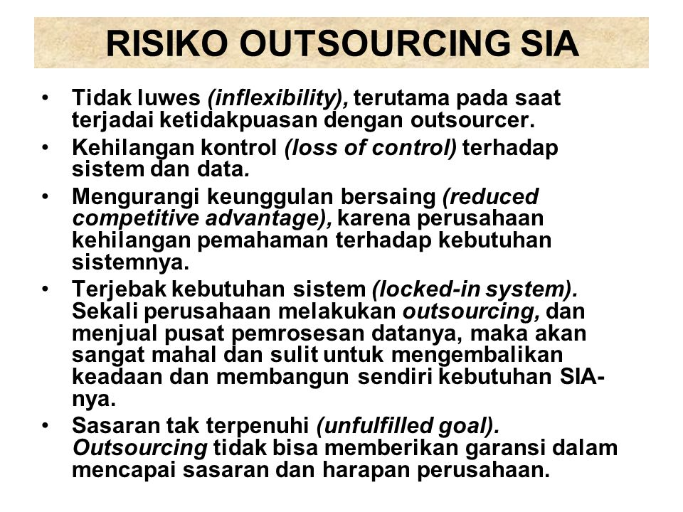 RISIKO OUTSOURCING SIA
