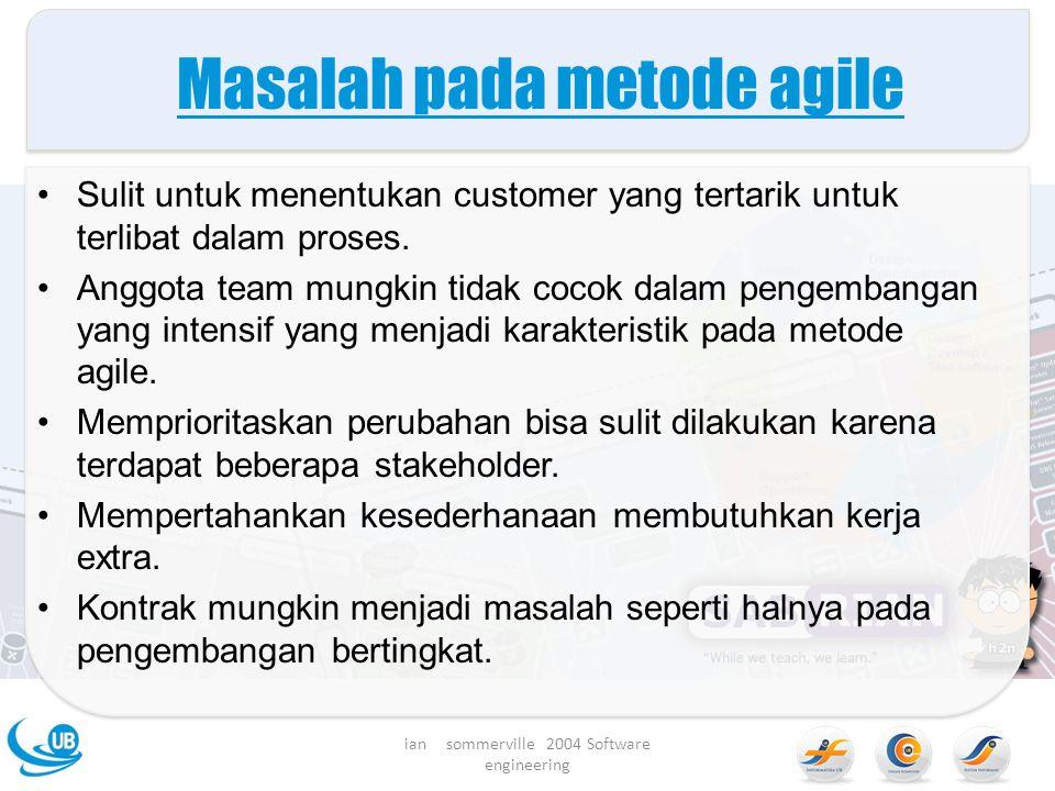 Masalah pada metode agile