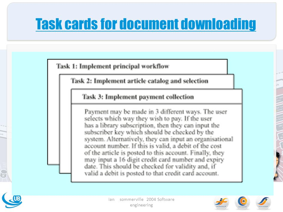 Task cards for document downloading