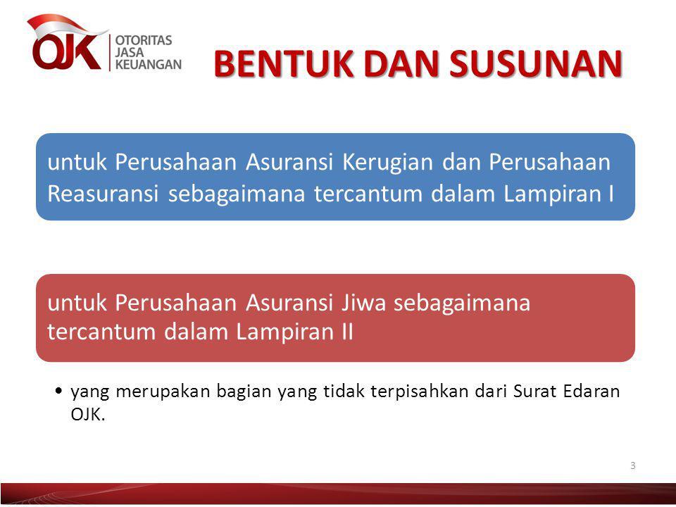 BENTUK DAN SUSUNAN untuk Perusahaan Asuransi Kerugian dan Perusahaan Reasuransi sebagaimana tercantum dalam Lampiran I.