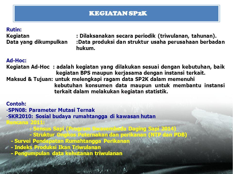 KEGIATAN SP2K Rutin: Kegiatan : Dilaksanakan secara periodik (triwulanan, tahunan).