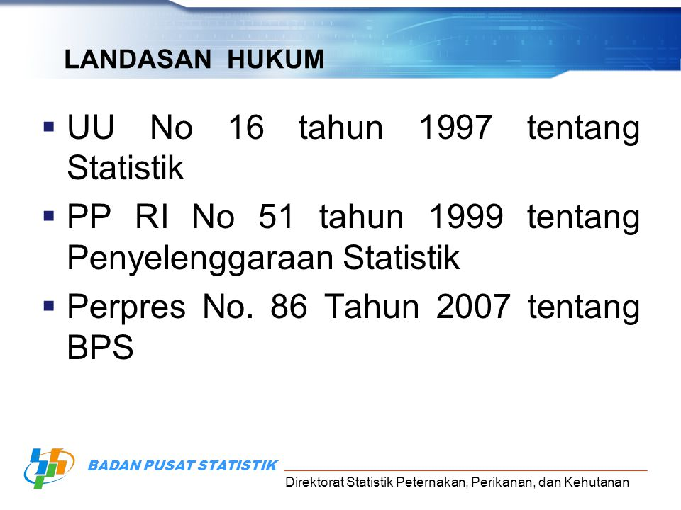 UU No 16 tahun 1997 tentang Statistik