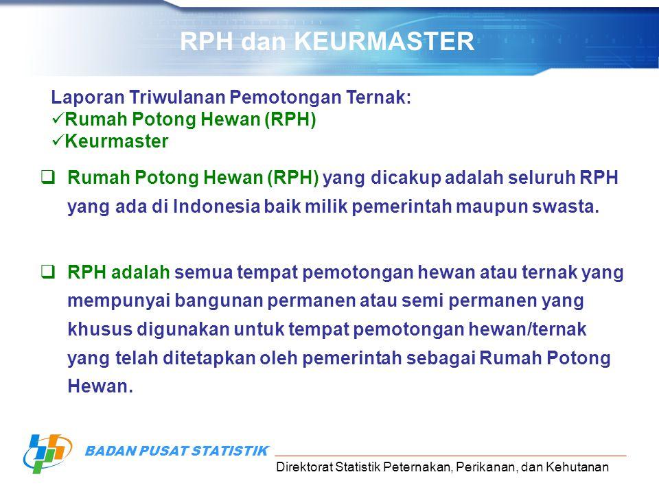 RPH dan KEURMASTER Laporan Triwulanan Pemotongan Ternak: