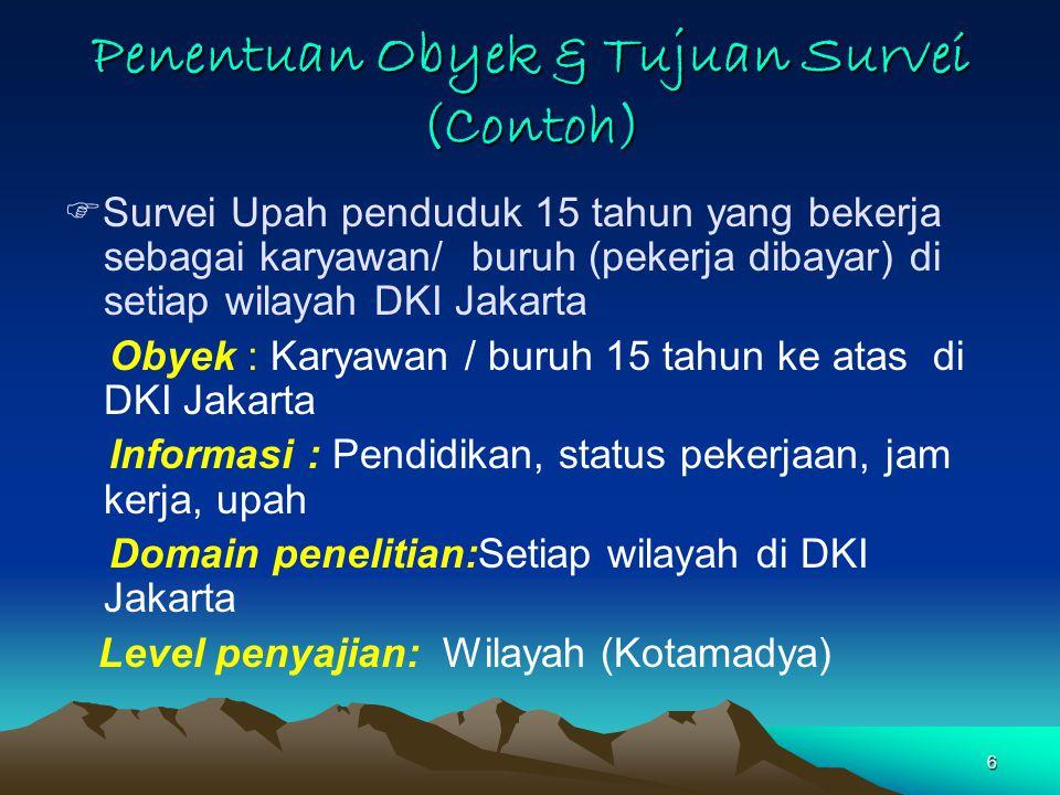 Penentuan Obyek & Tujuan Survei (Contoh)