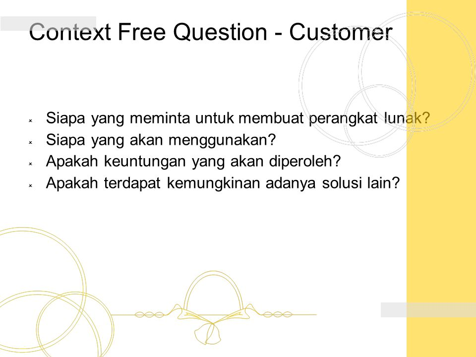 Context Free Question - Customer