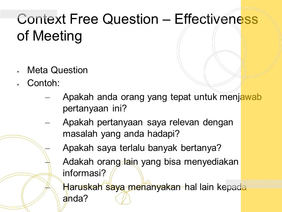 Context Free Question – Effectiveness of Meeting