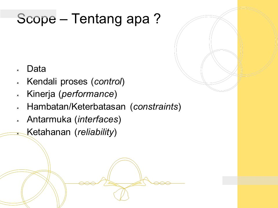 Scope – Tentang apa Data Kendali proses (control)