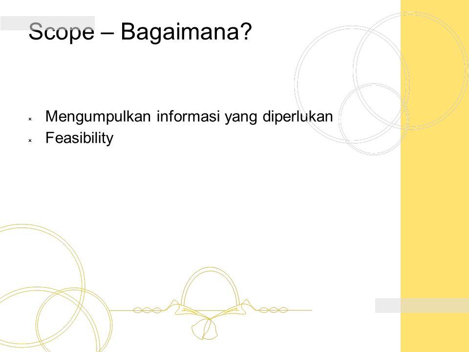 Scope – Bagaimana Mengumpulkan informasi yang diperlukan Feasibility