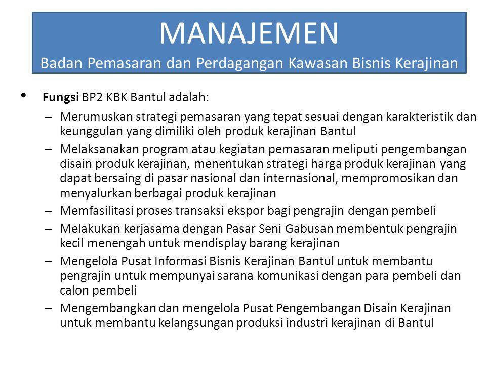 MANAJEMEN Badan Pemasaran dan Perdagangan Kawasan Bisnis Kerajinan