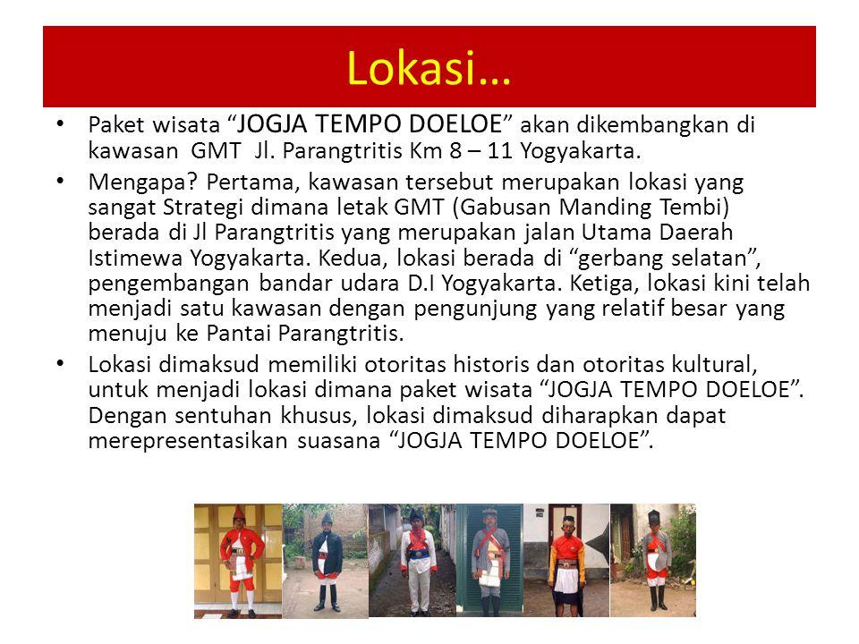 Lokasi… Paket wisata JOGJA TEMPO DOELOE akan dikembangkan di kawasan GMT Jl. Parangtritis Km 8 – 11 Yogyakarta.