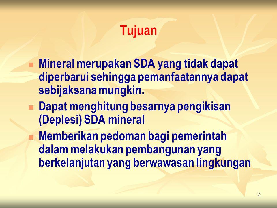 Tujuan Mineral merupakan SDA yang tidak dapat diperbarui sehingga pemanfaatannya dapat sebijaksana mungkin.