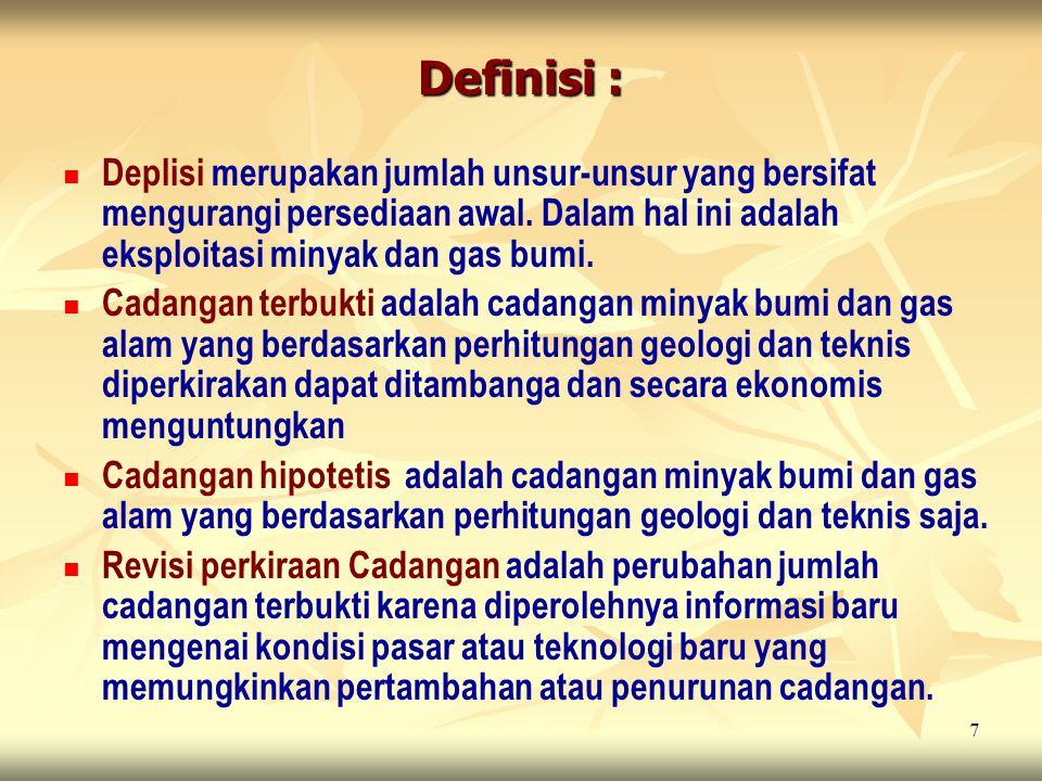 Definisi : Deplisi merupakan jumlah unsur-unsur yang bersifat mengurangi persediaan awal. Dalam hal ini adalah eksploitasi minyak dan gas bumi.