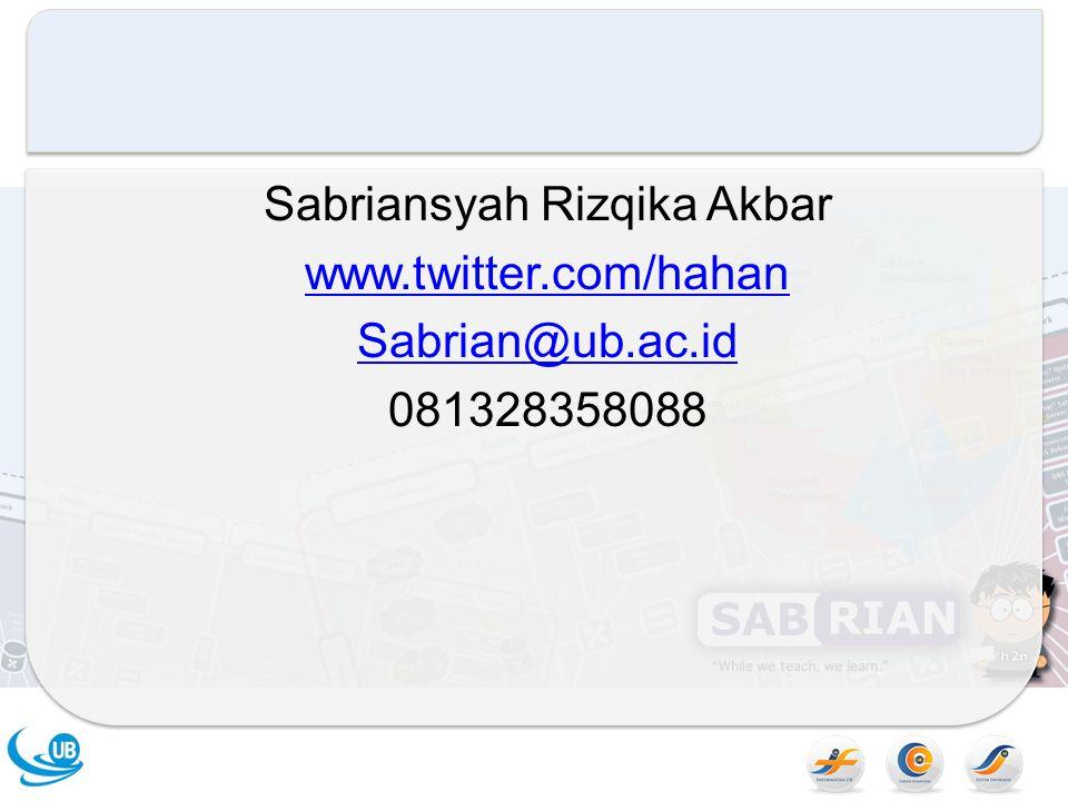 Sabriansyah Rizqika Akbar www. twitter. com/hahan Sabrian@ub. ac