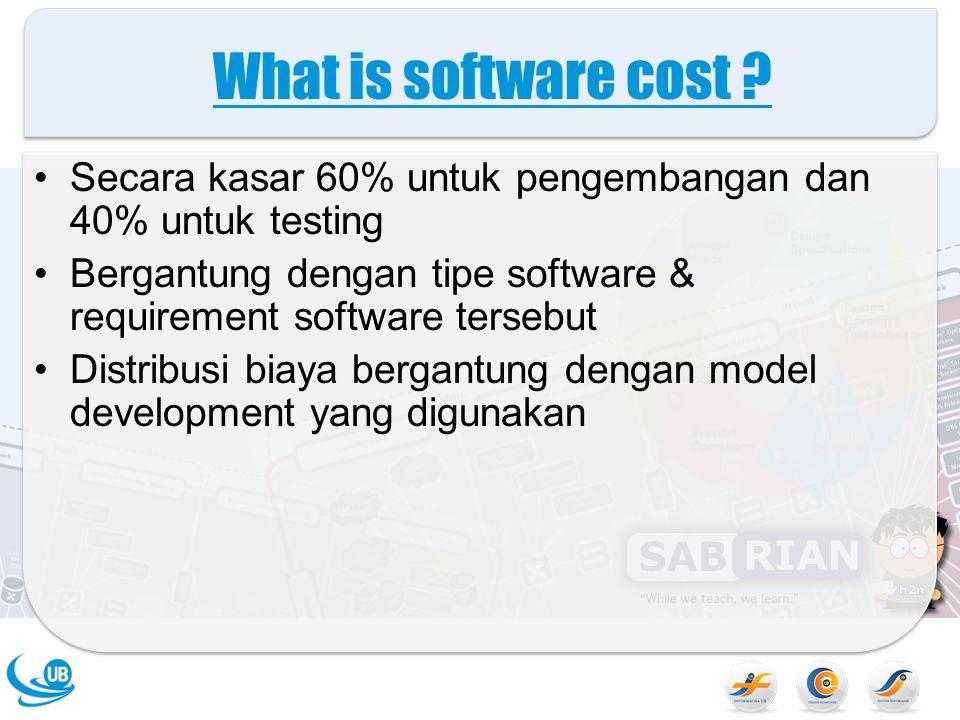 What is software cost Secara kasar 60% untuk pengembangan dan 40% untuk testing. Bergantung dengan tipe software & requirement software tersebut.