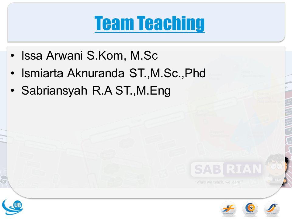 Team Teaching Issa Arwani S.Kom, M.Sc Ismiarta Aknuranda ST.,M.Sc.,Phd