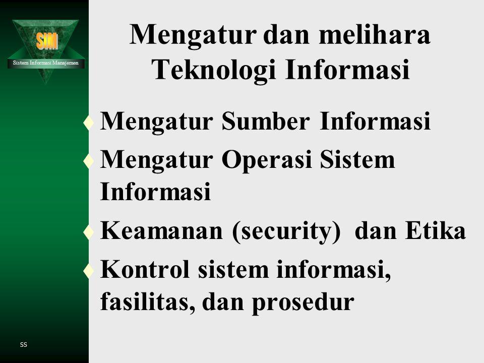 Mengatur dan melihara Teknologi Informasi
