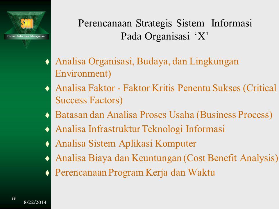 Perencanaan Strategis Sistem Informasi Pada Organisasi 'X'