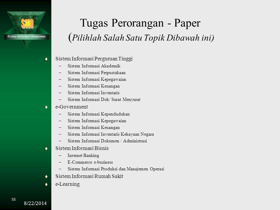 Tugas Perorangan - Paper (Pilihlah Salah Satu Topik Dibawah ini)