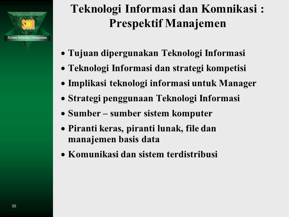 Teknologi Informasi dan Komnikasi : Prespektif Manajemen