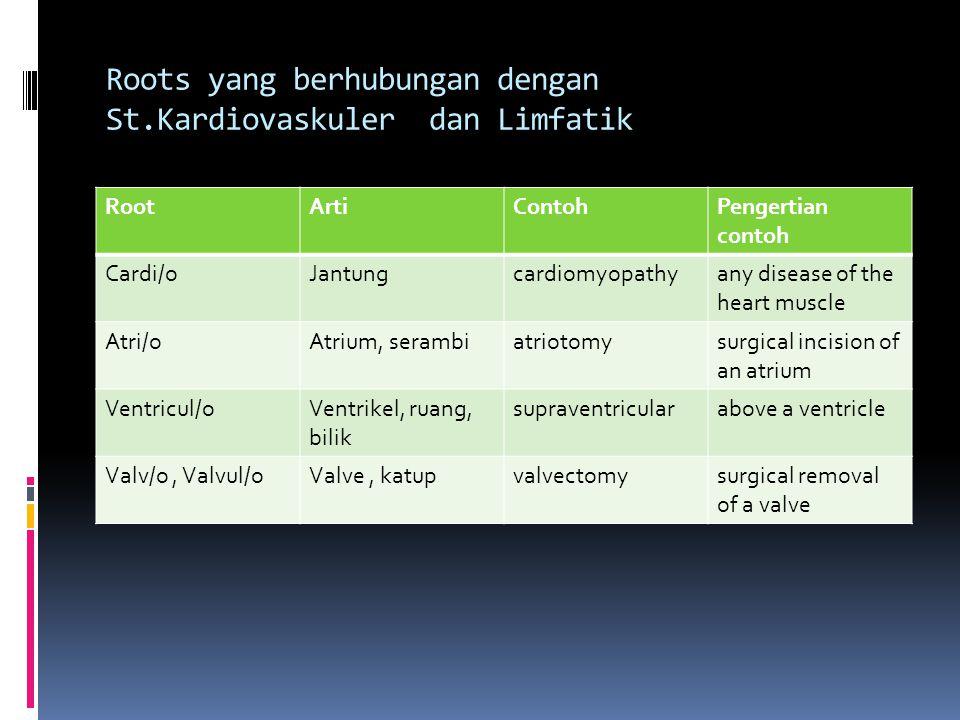 Roots yang berhubungan dengan St.Kardiovaskuler dan Limfatik
