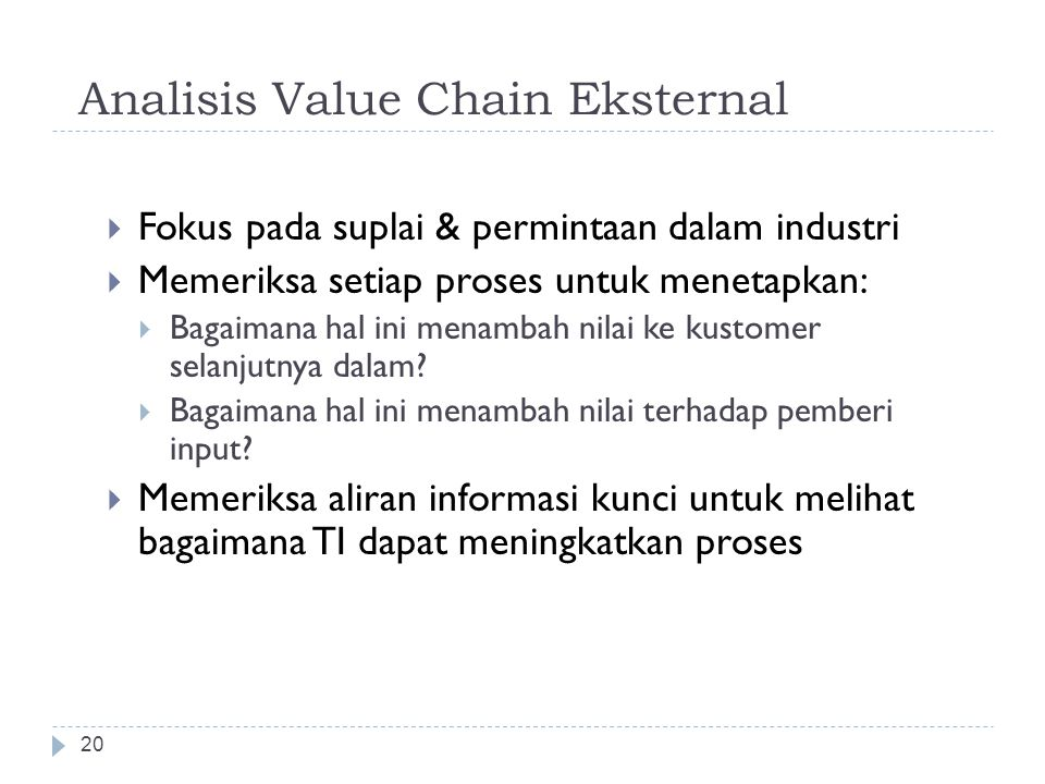 Analisis Value Chain Eksternal