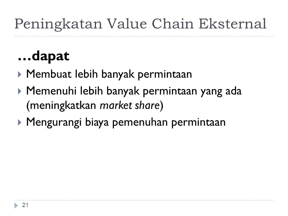 Peningkatan Value Chain Eksternal