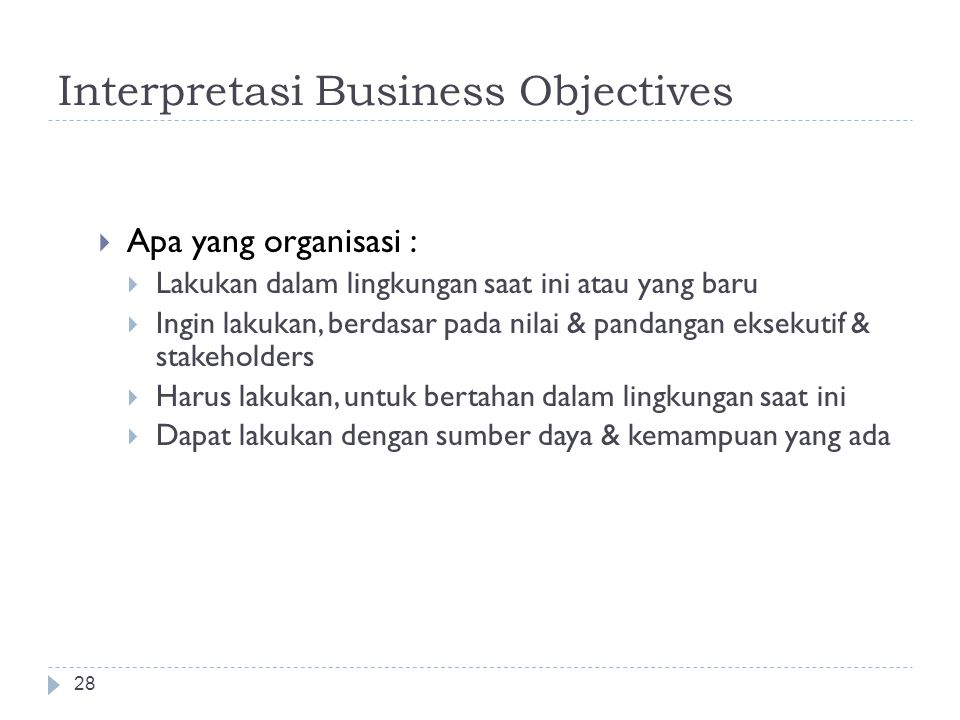 Interpretasi Business Objectives