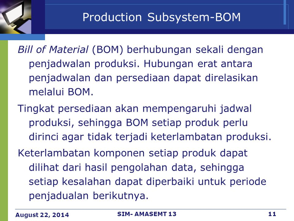 Production Subsystem-BOM