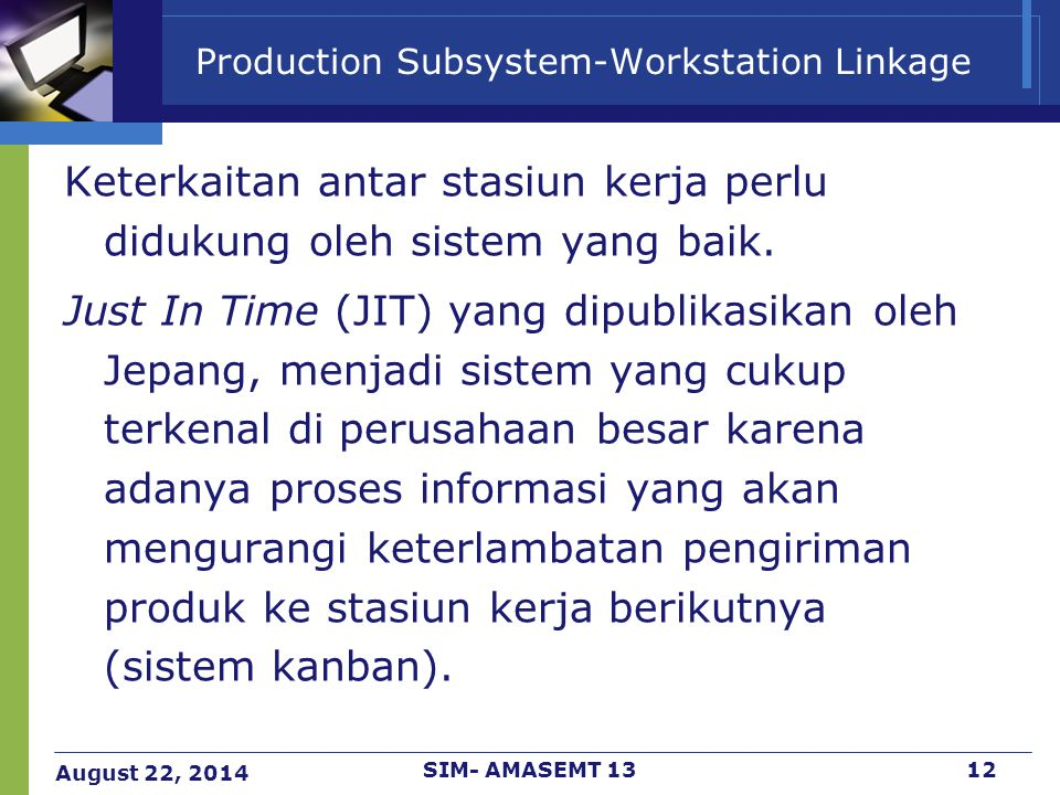 Production Subsystem-Workstation Linkage