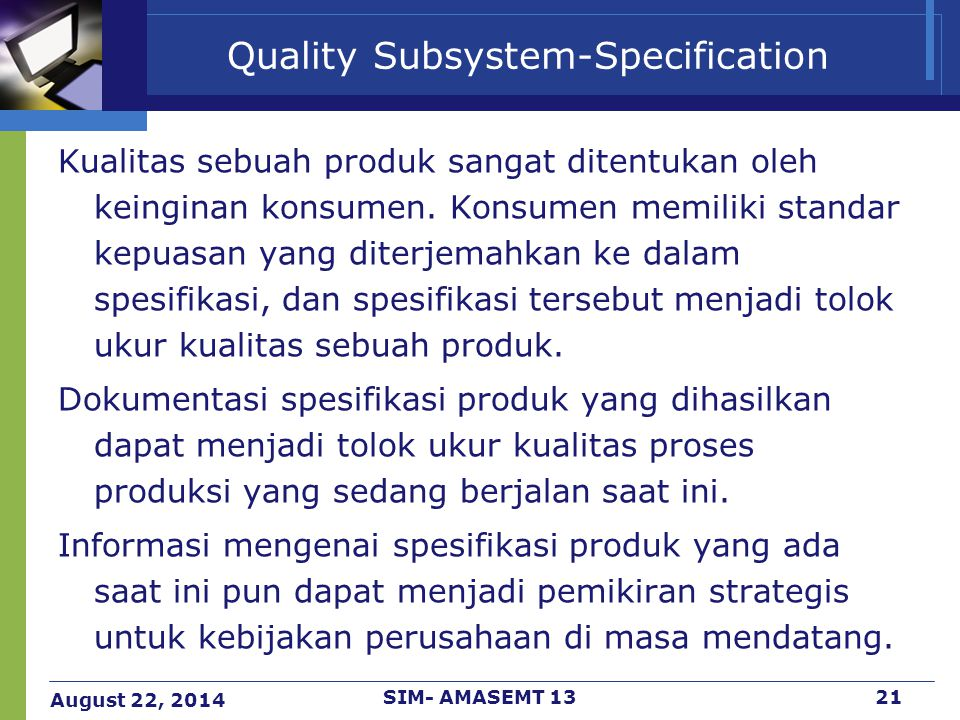 Quality Subsystem-Specification