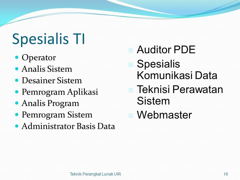 Spesialis TI Auditor PDE Spesialis Komunikasi Data