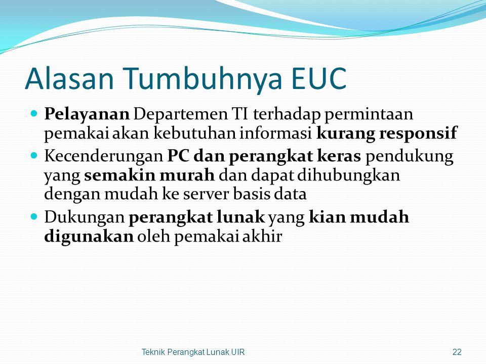 Alasan Tumbuhnya EUC Pelayanan Departemen TI terhadap permintaan pemakai akan kebutuhan informasi kurang responsif.