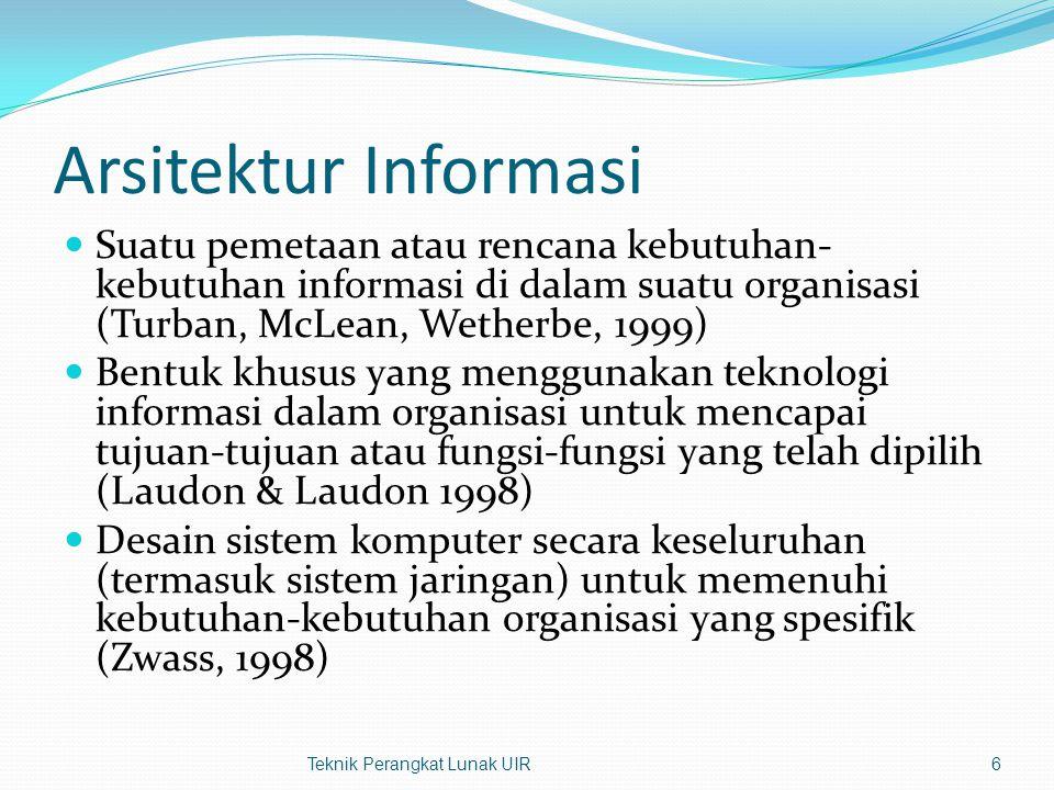 Arsitektur Informasi Suatu pemetaan atau rencana kebutuhan-kebutuhan informasi di dalam suatu organisasi (Turban, McLean, Wetherbe, 1999)