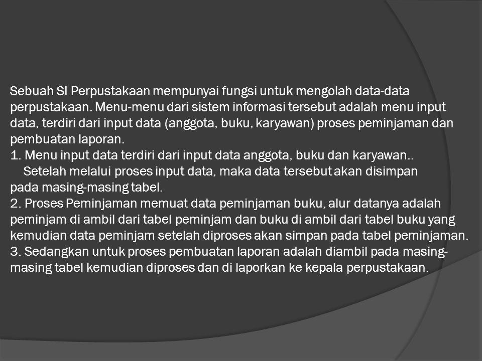 Sebuah SI Perpustakaan mempunyai fungsi untuk mengolah data-data perpustakaan.