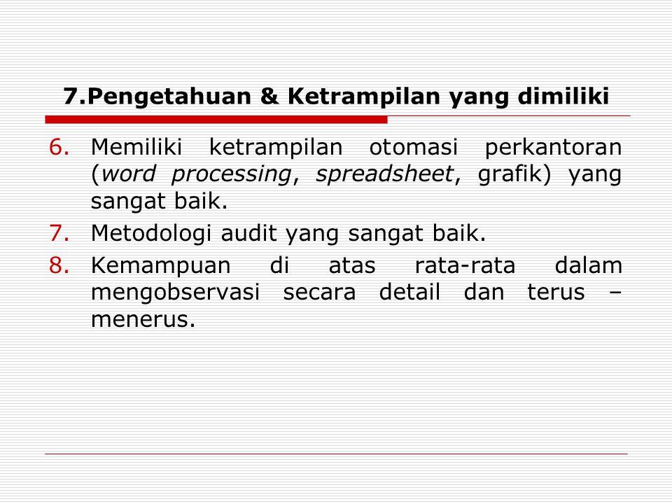 7.Pengetahuan & Ketrampilan yang dimiliki
