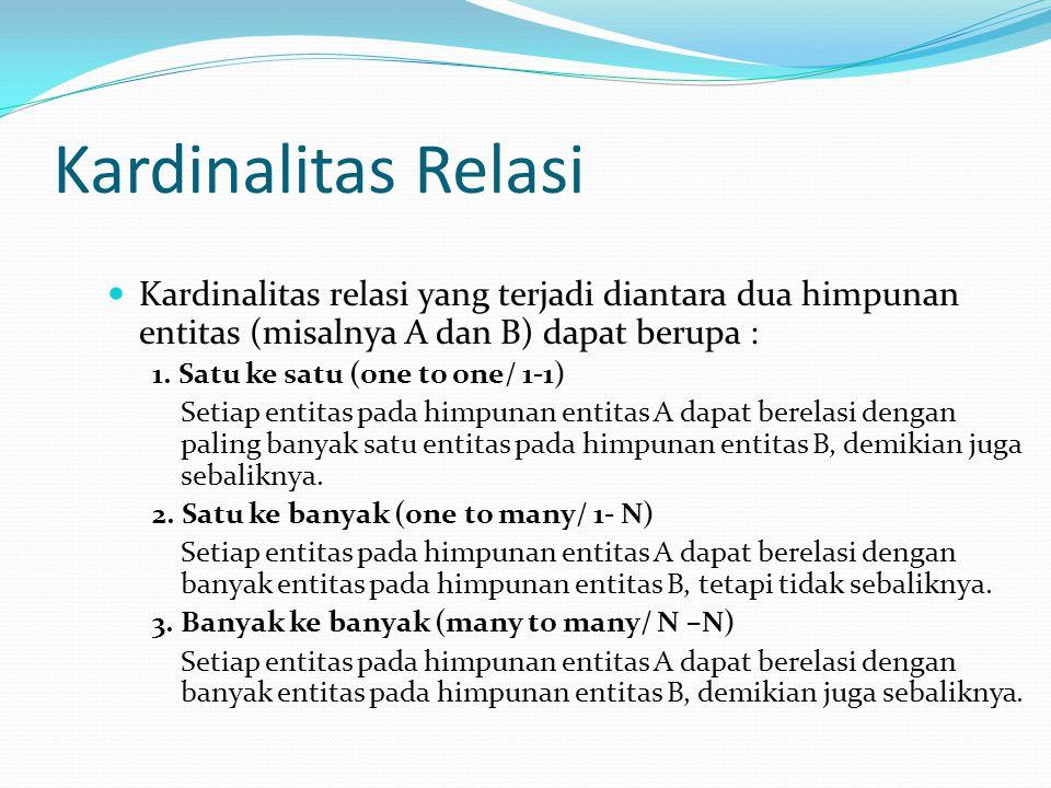 Kardinalitas Relasi Kardinalitas relasi yang terjadi diantara dua himpunan entitas (misalnya A dan B) dapat berupa :