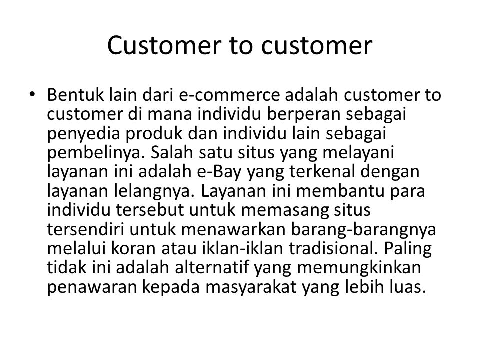 Customer to customer