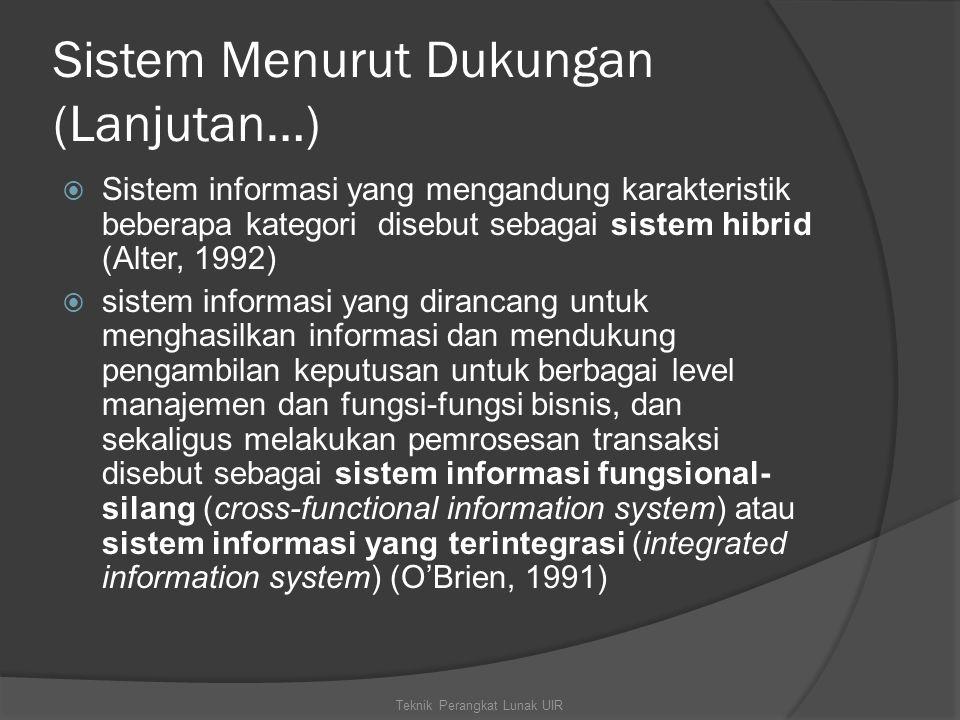 Sistem Menurut Dukungan (Lanjutan…)