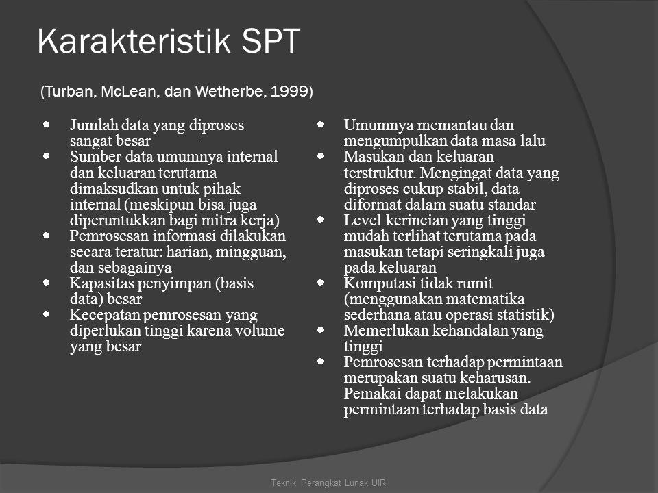Karakteristik SPT (Turban, McLean, dan Wetherbe, 1999)
