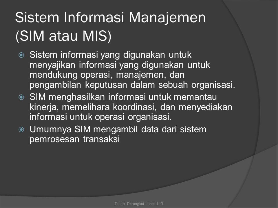 Sistem Informasi Manajemen (SIM atau MIS)