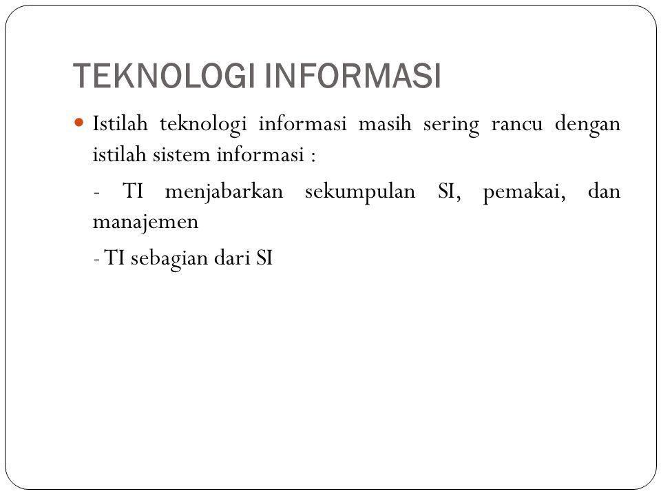 TEKNOLOGI INFORMASI Istilah teknologi informasi masih sering rancu dengan istilah sistem informasi :
