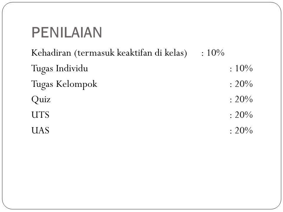 PENILAIAN Kehadiran (termasuk keaktifan di kelas) : 10%