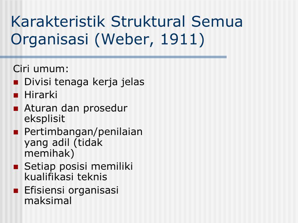 Karakteristik Struktural Semua Organisasi (Weber, 1911)