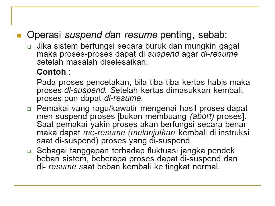 Operasi suspend dan resume penting, sebab: