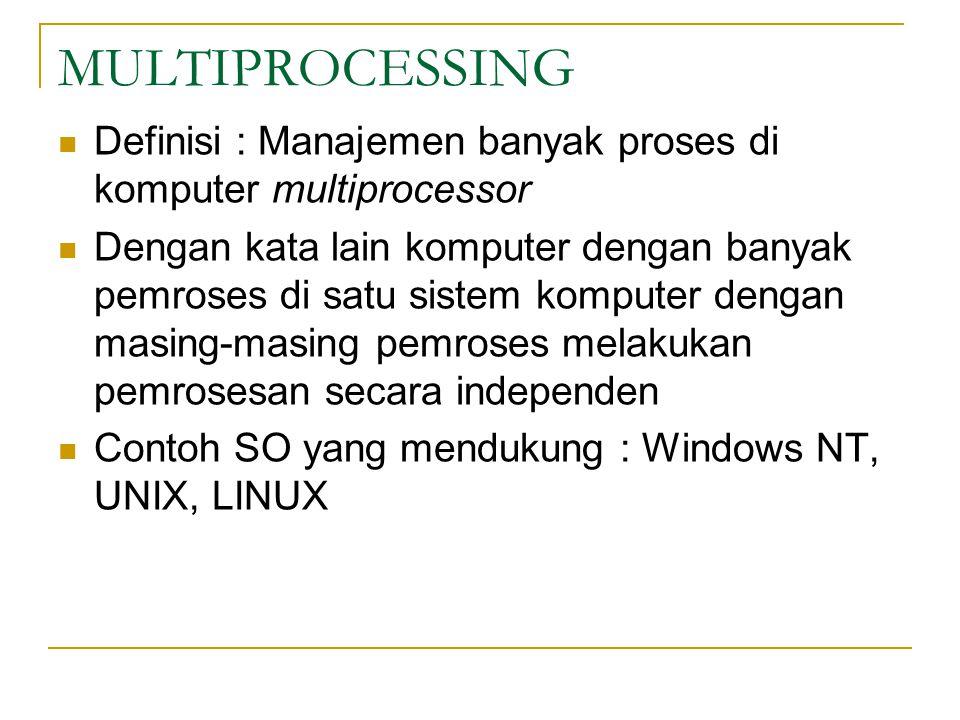 MULTIPROCESSING Definisi : Manajemen banyak proses di komputer multiprocessor.