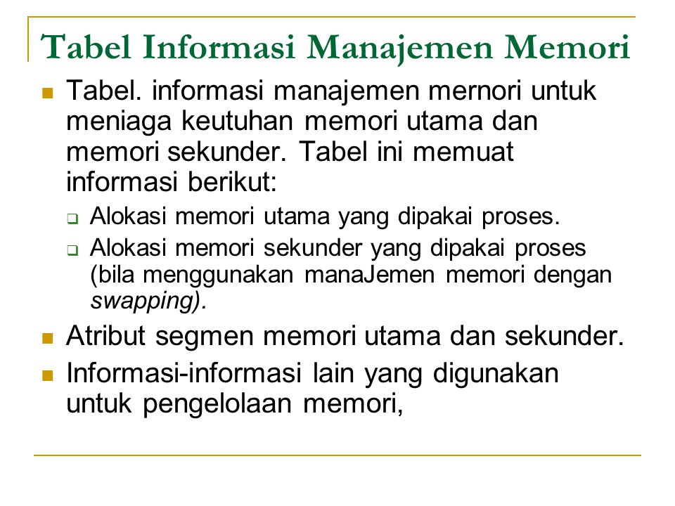Tabel Informasi Manajemen Memori