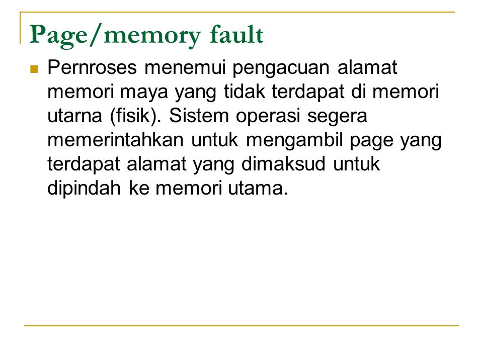 Page/memory fault