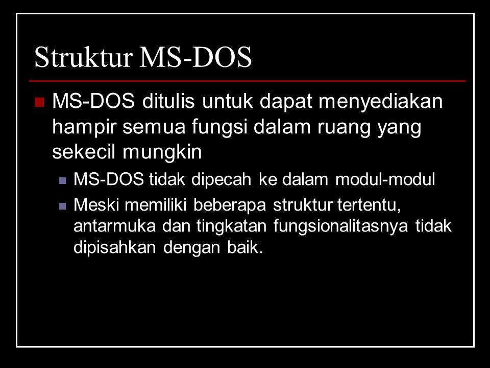 Struktur MS-DOS MS-DOS ditulis untuk dapat menyediakan hampir semua fungsi dalam ruang yang sekecil mungkin.